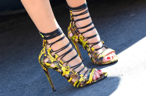 statement-heels-yellow-snakeskin-lace-up-paris-fashion-week-street-style