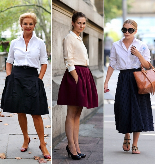 street+style+white+collared+shirt+flare+skirt+olsen
