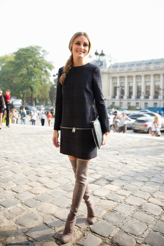 Paris_Fashion_Week_SS14-Street_Style-Say_Cheese-CollageVintage-Olivia_Palermo-Zara_Dress-Over_The_Knee_boots-Braid-Carven-